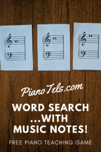 Word Search   with Music Notes! | Free Piano Teaching Game (Digital